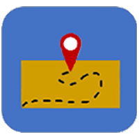 Rectangle with a dotted line route with the tear drop-shaped map pointer at the end