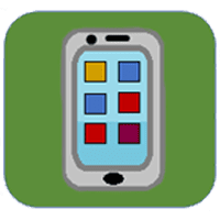 Outline of a smart phone with box-shaped apps